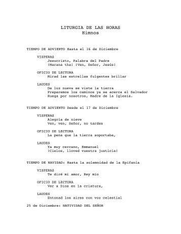 LITURGIA DE LAS HORAS Himnos
