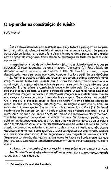 O a-prender na constituição do sujeito - Escola Letra Freudiana