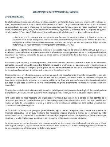 Departamento de Formación Catequistas - Centro Nacional de ...