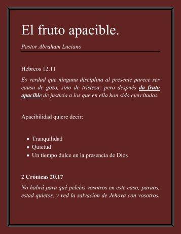 El fruto apacible. - IGLESIA TIEMPO DE DIOS