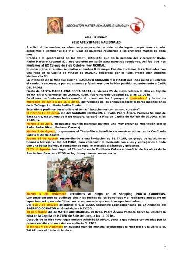 AMA URUGUAY 2012 ACTIVIDADES NACIONALES A ... - AMASC