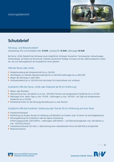 Leistungsubersicht Zum Kfz Schutzbrief R V Versicherung