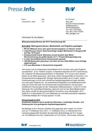 Bilanzpressekonferenz der R+V Versic - R+V Versicherung