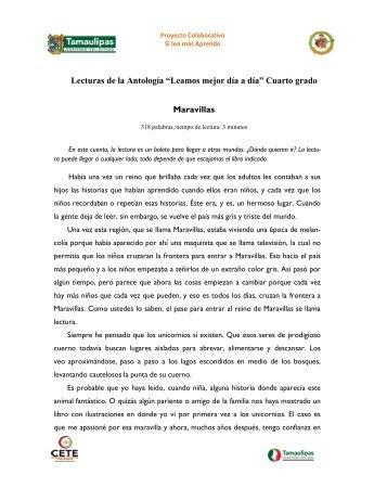 """Lecturas de la Antología """"Leamos mejor día a día"""" Cuarto grado ..."""