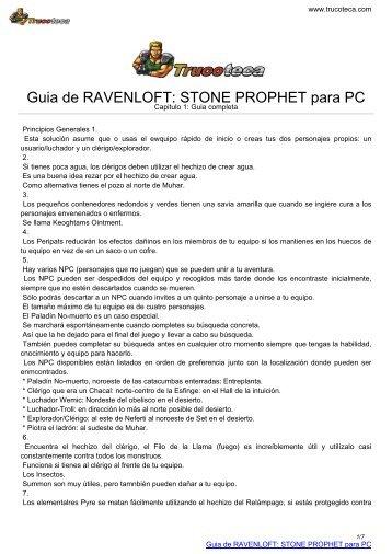 Guia de RAVENLOFT: STONE PROPHET para PC - Trucoteca.com