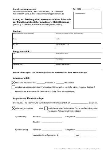 Antrag auf Erteilung einer wasserrechtlichen Erlaubnis zur - KDO-KIM