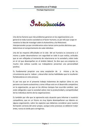 Autoestima en el Trabajo - Monografias.com