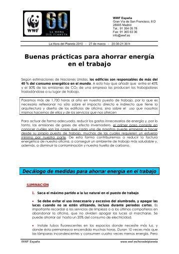 Buenas prácticas para ahorrar energía en el trabajo