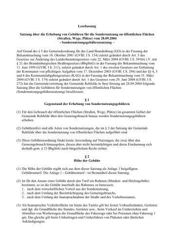 Sondernutzungsgebührensatzung - Amt Märkische Schweiz