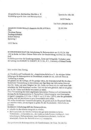 Brief an Frau Herzog von der Amputierten-Initiative