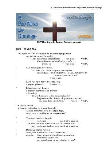 XXV Domingo do Tempo Comum (Ano A) - Diocese de Aveiro