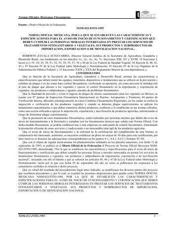 Normas Oficiales Mexicanas Fitosanitarias NOM-022-FITO-1995 1 ...