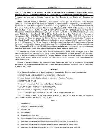 PROYECTO de Norma Oficial Mexicana PROY-NOM-256-SSA1-2011