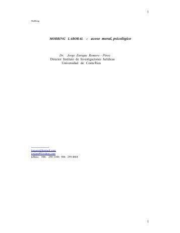 MOBBING LABORAL : acoso moral, psicológico - Instituto de ...