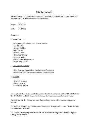 Gemeindevertretung vom 04.04.2006 - Amt Itzehoe-Land