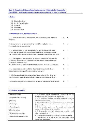 Guía de Estudio de Fisiopatología Cardiovascular: Fisiología ...