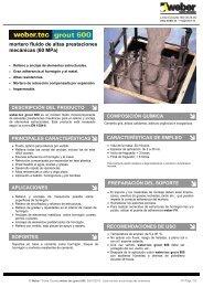 mortero fluido de altas prestaciones mecánicas (60 MPa) - Weber