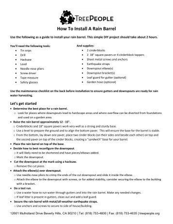 How To Install A Rain Barrel - Tree People