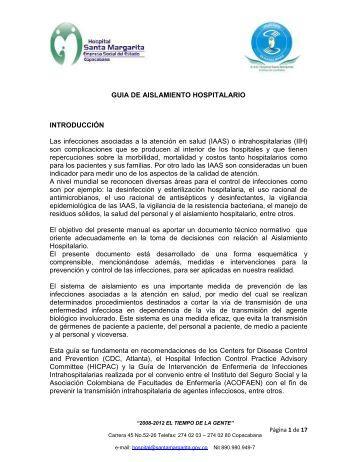 GUIA DE AISLAMIENTO HOSPITALARIO INTRODUCCIÓN Las ...