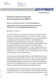 HYMER AG Pressestelle Holzstraße 'I9   Fon (075 24] 999-500