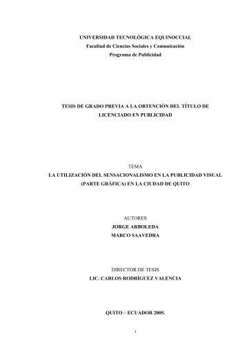 1 UNIVERSIDAD TECNOLÓGICA EQUINOCCIAL Facultad de ...