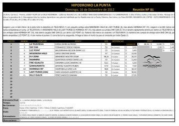 resultados 16 de diciembre - Hipodromo La Punta