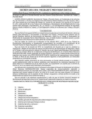 NOM-009-STPS-2011, Con - Normas Oficiales Mexicanas de ...