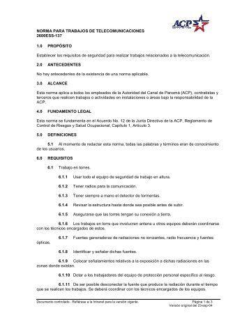 Norma para Trabajos de Telecomunicaciones - Canal de Panamá