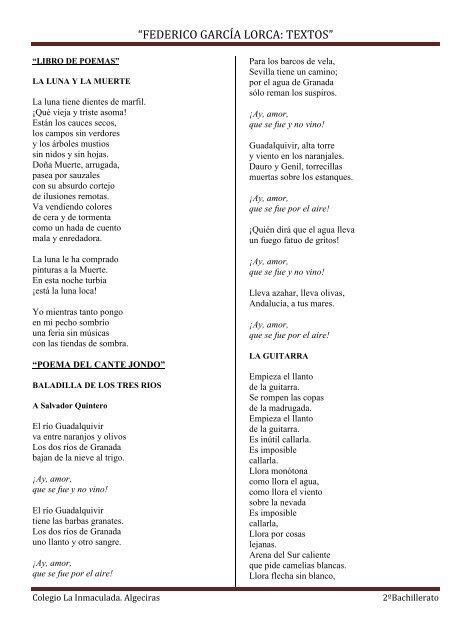Federico García Lorca Textos Lengua Y Literatura Mic