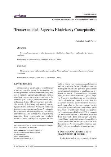 Transexualidad. Aspectos Históricos y Conceptuales - UNED