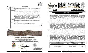 Boletin Normalista No. 10/2011 - Benemérita Escuela Normal ...