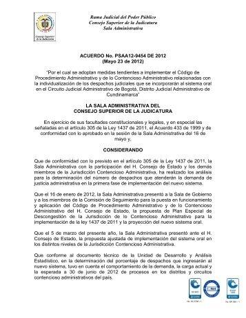 ACUERDO No. PSAA12-9454 DE 2012 - Actos Administrativos ...