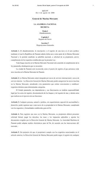 Ley 57 General de Marina Mercante. - Autoridad Marítima de Panamá