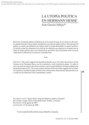 LA UTOPÍA POLÍTICA EN HERMANN HESSE - Biblioteca - ITAM