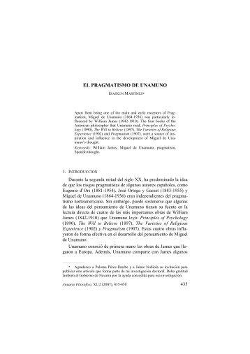 EL PRAGMATISMO DE UNAMUNO - Universidad de Navarra
