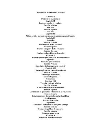 Reglamento de Tránsito y Vialidad Capítulo I Disposiciones ...