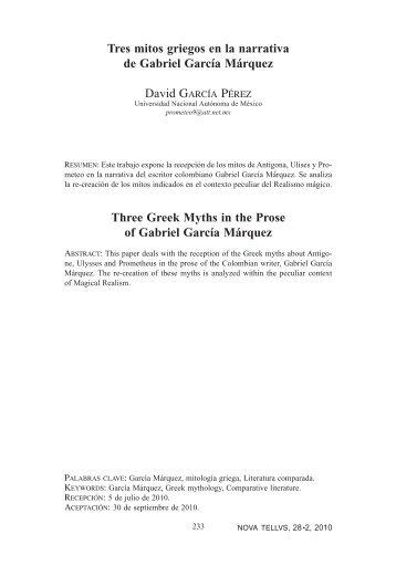 Tres mitos griegos en la narrativa de Gabriel García Márquez ... - Inicio