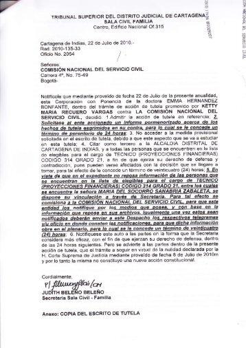 i sALA clvlL FAMILIA -rotlf - Comisión Nacional del Servicio Civil
