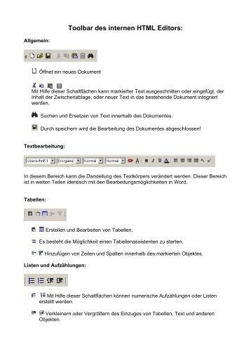Toolbar des internen HTML Editors: