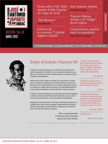 BOLETÍN / No. 01 ABRIL 2012 - Unión de Escritores y Artistas de ...