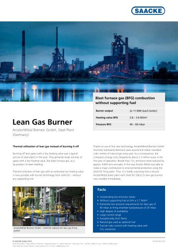 Lean Gas Burner pdf, 620.0 KB, 2 Page(s) - Saacke.com