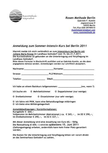 Rosen Methode Berlin Anmeldung zum Sommer-Intensiv-Kurs bei ...