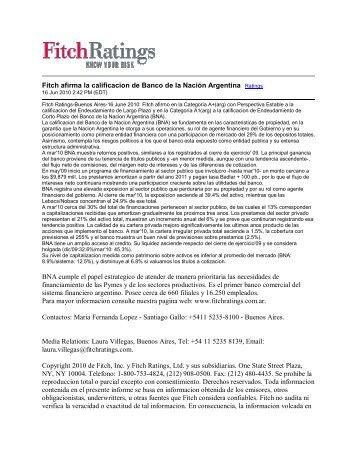 Fitch afirma la calificacion de Banco de la Nación Argentina Ratings ...