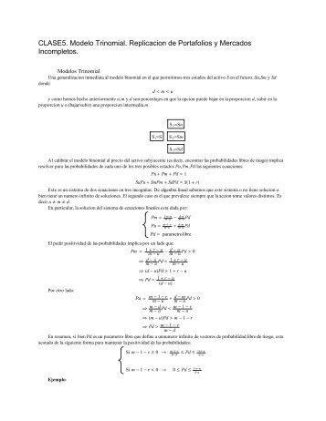 El Modelo Trinomial. Replicacion y Mercados Incompletos - ITAM