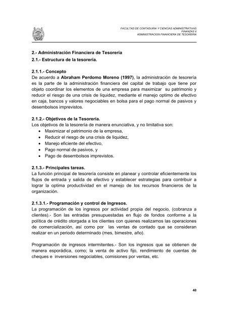 Administración Financiera De Tesorería 2 1 Facultad De