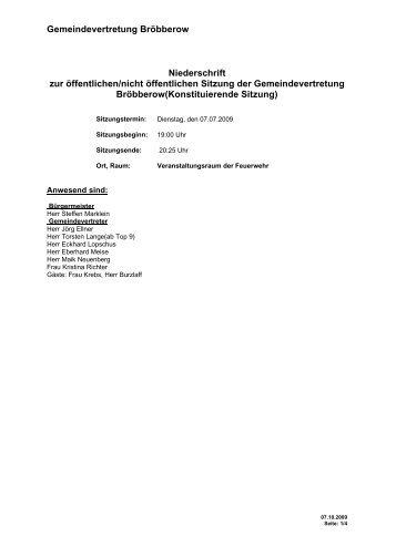 Protokoll zur Gemeindevertretersitzung - Schwaan