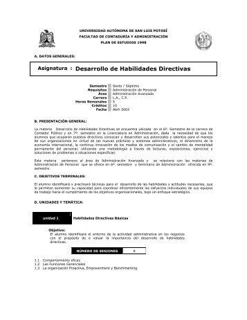 Habilidades Directivas - Universidad Autónoma de San Luis Potosí