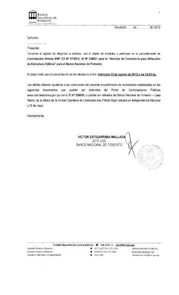 Señores Presente - Banco Nacional de Fomento