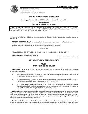 Ley del Impuesto Sobre la Renta - Instituto Mexicano de la Radio