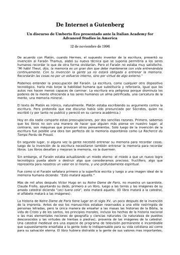 De Internet a Gutenberg - Umberto Eco Italian Academy ... - Intellectun